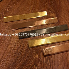 Stainless steel hairline finish flat bar titanium color