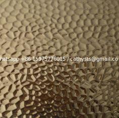 China Hot Designed sheet Gold color mirror bright finish hammered stainless steel sheet for wall cladding supplier