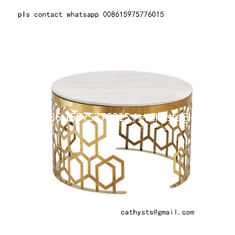 China New classical Hotel marble table bronze color stainless steel hollowed out design supplier