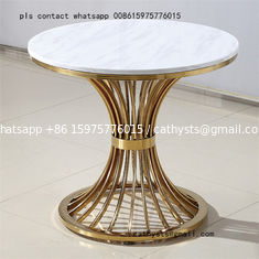 China Metal plated stainless steel marble table simple coffee round table supplier
