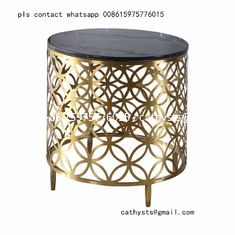 China gold-plating stainless steel marble table laser cutting design for hotel lobby supplier