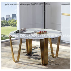 European style creative stainless steel coffee table modern tempered glass table