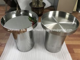 China mirror silver stainless steel table base modern metal round coffee table supplier