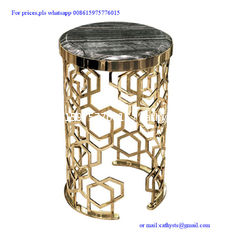 China modern designed metal corner table  stainless steel laser cutting base side table supplier