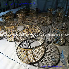 China Customized laser cutting grille table iron steel stainless gold color round coffee table supplier