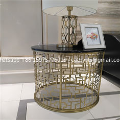 China luxurious hotel furniture bedroom stainless steel metal base gold mirror finish supplier