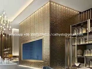 China Hammered Stainless Steel Panels Rose Gold Mirror Finish For Hotels Villa Lobby Interior Decoration supplier