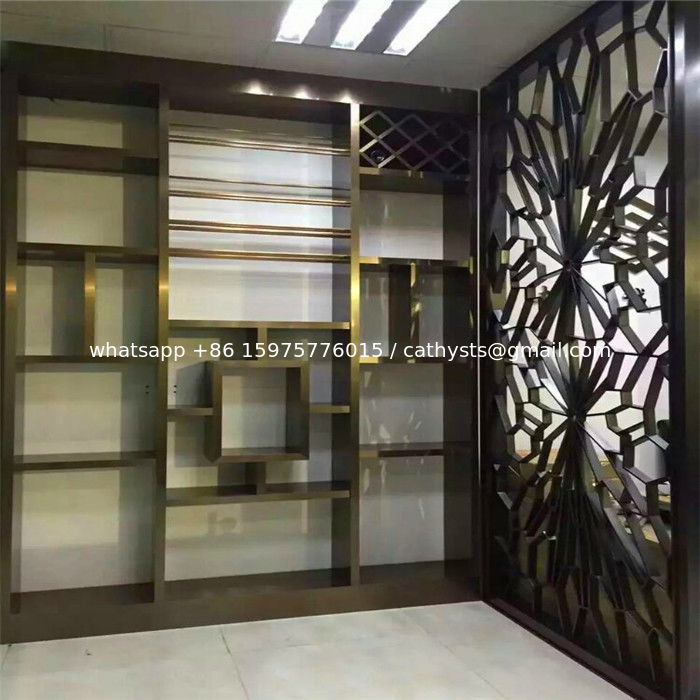 Interior design partition wall stainless steel panel in bronze finish on sale - Partition in interior designing ...