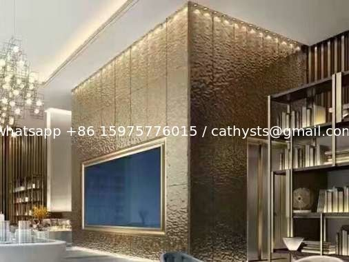 Hammered Stainless Steel Panels Rose Gold Mirror Finish For Hotels Villa Lobby Interior Decoration