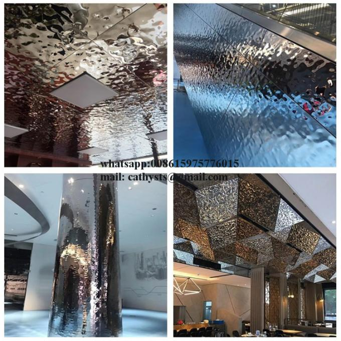 Decorative Stainless Steel Ceiling Panel Hammered Stainless Steel