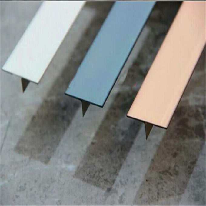 Custom made T shape tile trim 304 stainless steel mirror finish factory price