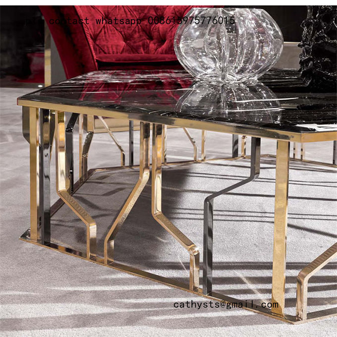 Modern metal furniture rose gold stainless steel table for living room