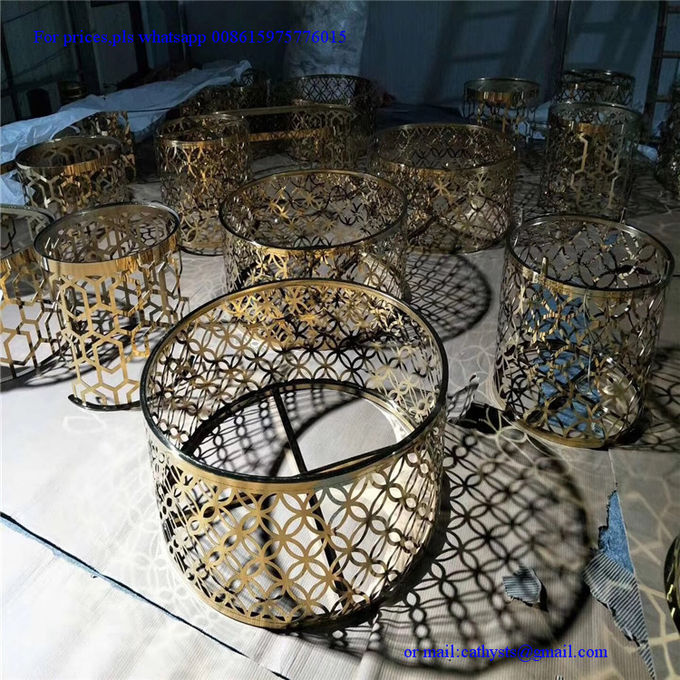 Customized laser cutting grille table iron steel stainless gold color round coffee table